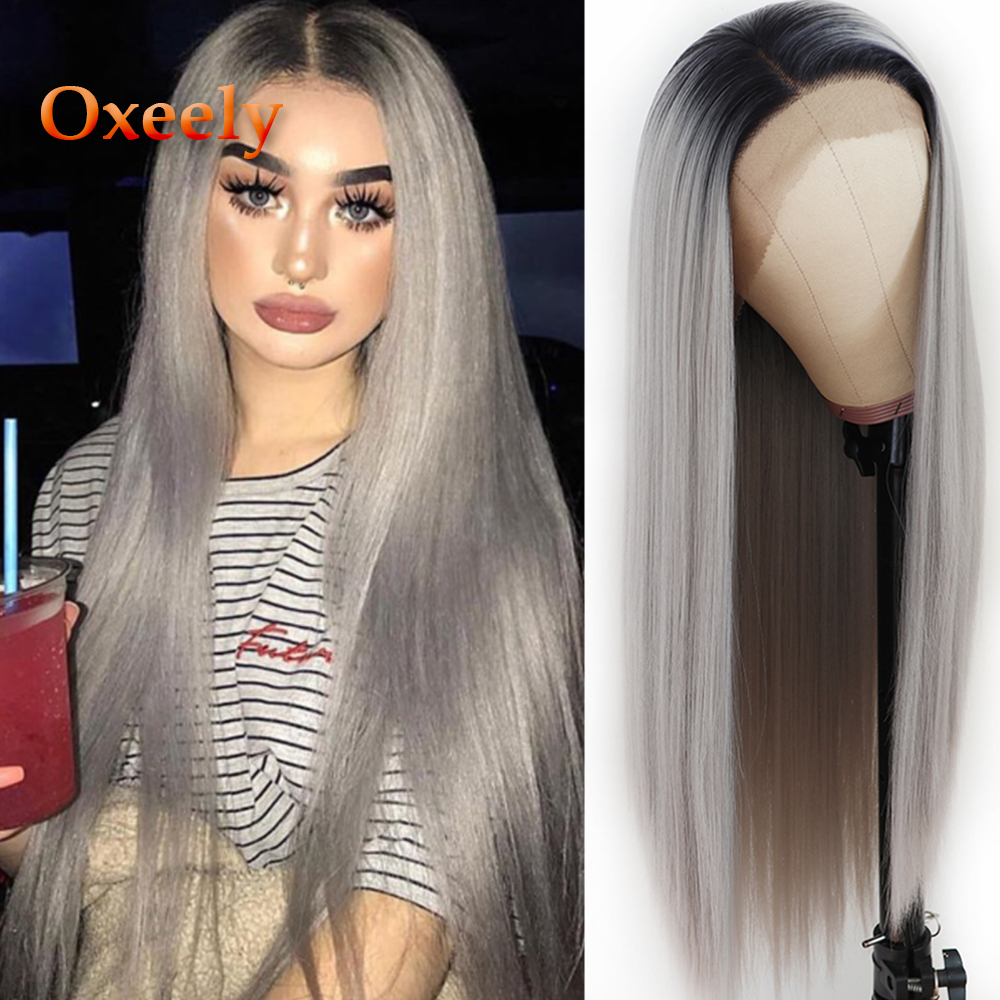 Oxeely Long Straight Synthetic Lace Front Wigs Ombre Gray Wig Heat Resistant Natural Silver Grey Straight Wigs For Black Women
