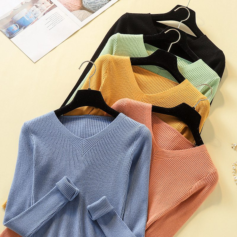 Autumn Women V-neck Long-sleeved Sweater Slim Knit Bottoming Shirt Slim Candy Color Female Tops