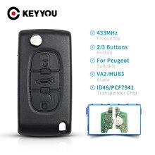 KEYYOU 2/3BT CE0536 CE0523 дистанционный ключ 433 МГц запрос для Peugeot 307 3008 308 408 433 МГц ID46 чип Автомобильный флип-ключ VA2/HU83 лезвие