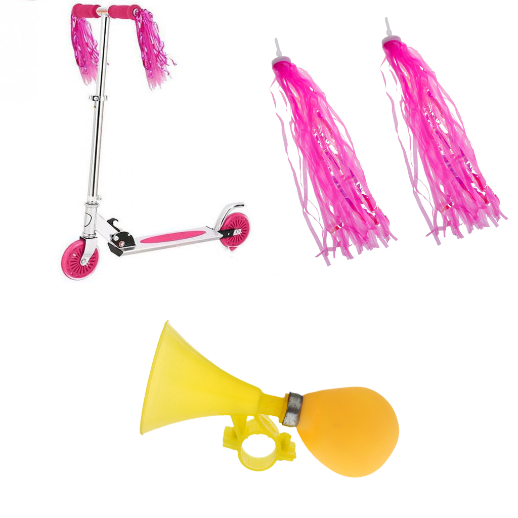 Prettyia Kids Bike Streamers Tassels Girls Tricycle Scooter Horn Bell Ring