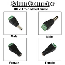 10 Pieces/lot Coax Cat 5e BNC Balun to DC 2.1*5.5 Male/Female Connector for CCTV Surveillance Camera