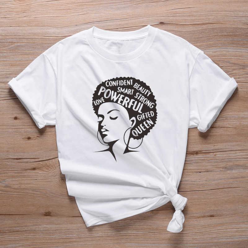 חזק האפרו ליידי גרפי T חולצה פמיניסטית Tees נשים של אסתטי מלנין טי חולצה שחור מלכת T חולצות גבירותיי ילדה כוח חולצות