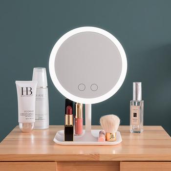 Lustro do makijażu z oświetleniem led toaletka lustro piękno lampa pierścieniowa lustro przybory kosmetyczne do wypełnienia światłem małe lustra tanie i dobre opinie Wyposażone 27cm*18cm Podświetlany SMR-LEDMIRRO-001 LED cosmetic mirro Silver mirror USB charging 180 rotating mirror