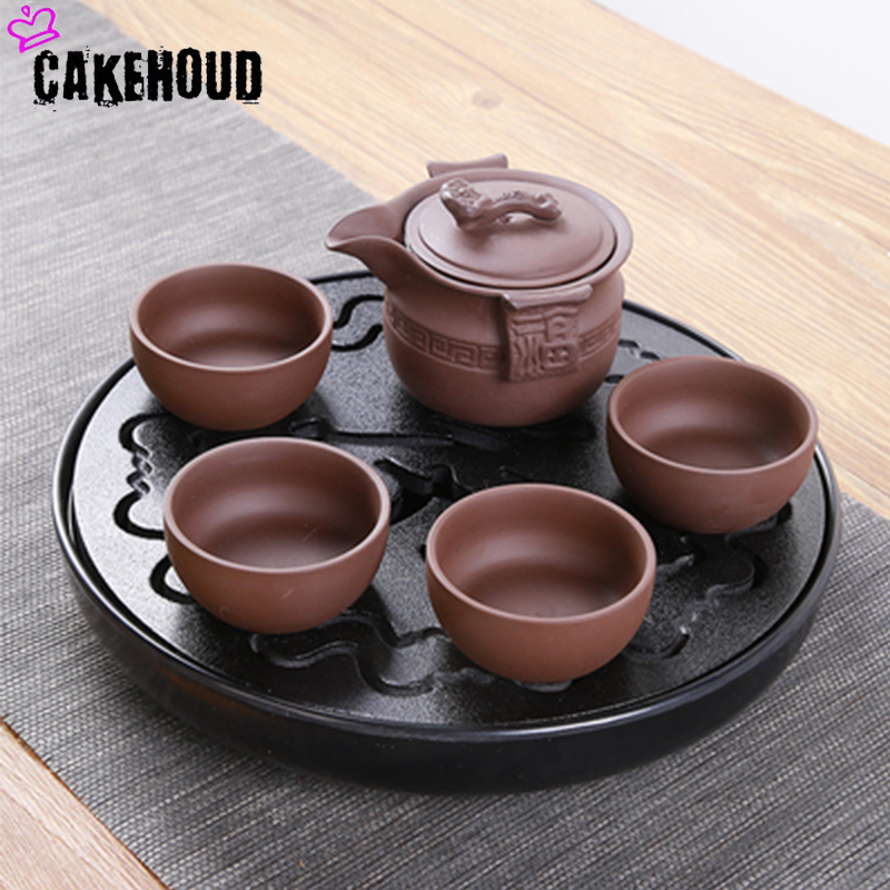 Kung Fu basit çay tepsisi drenaj su Kung Fu çay seti paketi yemek masası siyah/beyaz çin çay bardağı töreni araçları çay seti