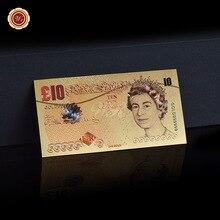 WR поддельные деньги Великобритания 10 фунт Золотая фольга Банкнота с Coa рамка евро реквизит деньги Банкноты ремесло подарок Прямая поставка