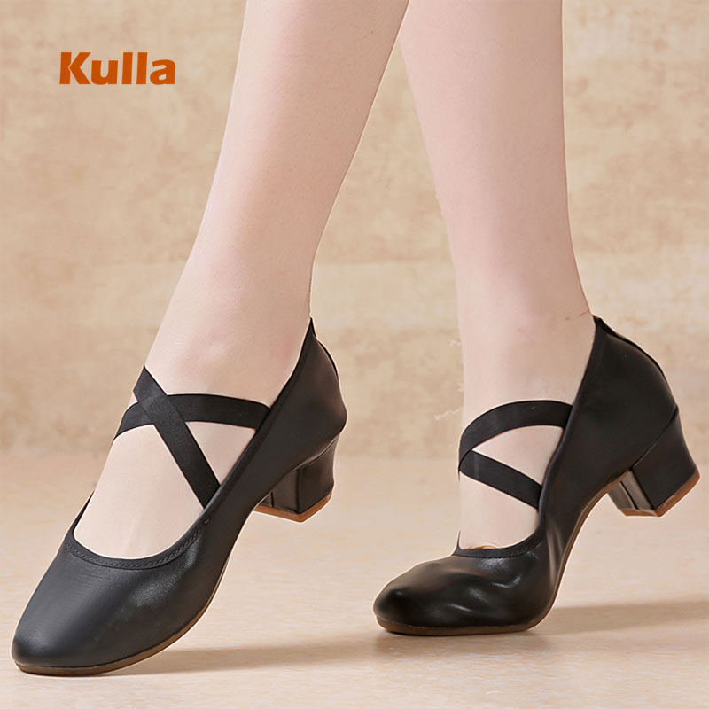 Women Jazz Dance Shoes Ladies Latin Dancing Shoes Canvas Middle Square Soft Sole Adult Ballroom Practice Tango Dance Sneakers
