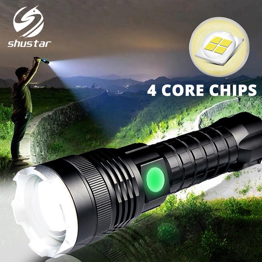 Super puissant lampe de poche LED XHP50 torche tactique Zoomable lampe étanche Rechargeable lanterne Ultra lumineuse par batterie 26650