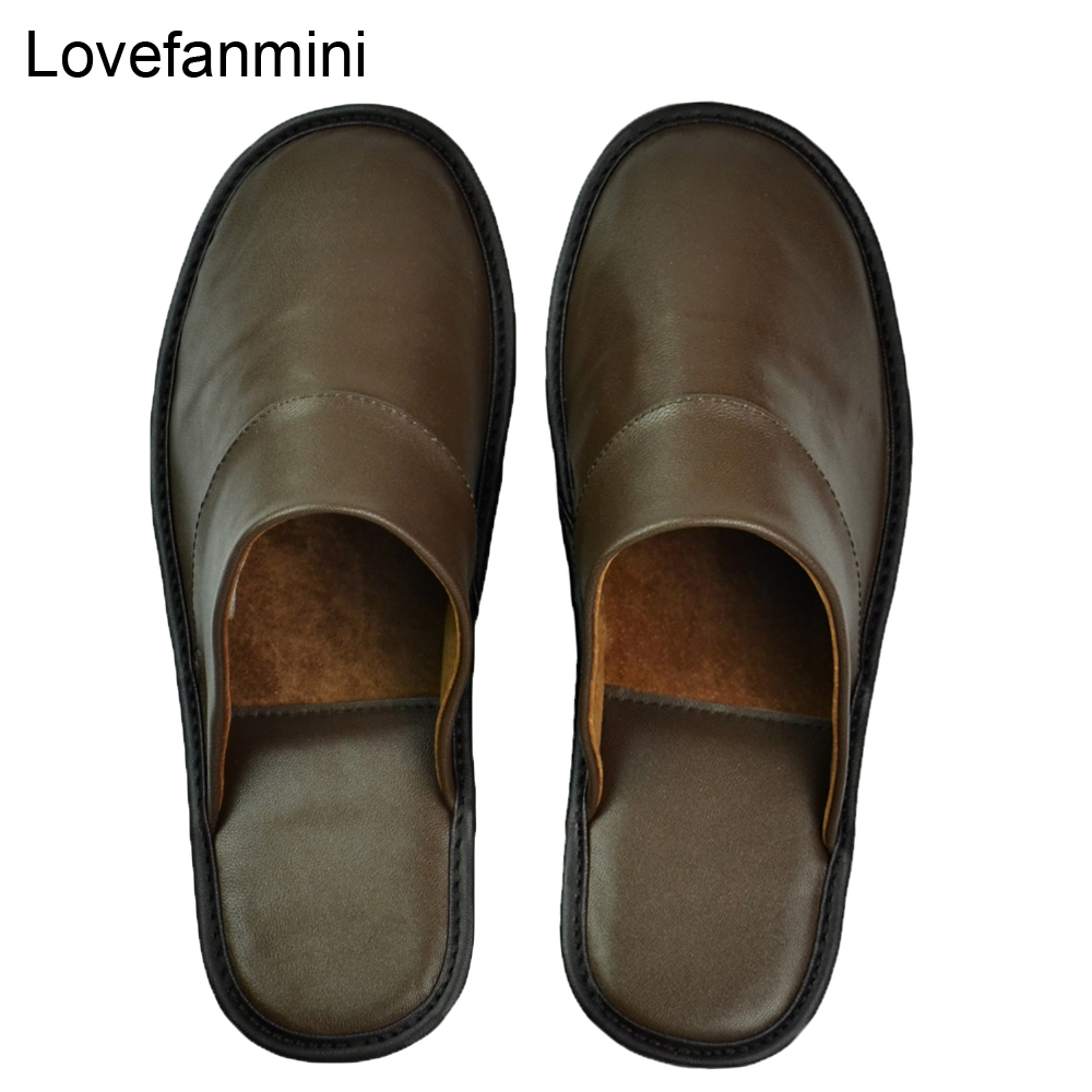Genuine Sheepskin Leather slippers couple indoor non slip men women home fashion casual single shoes PVCsoft soles spring summerSlippers   -