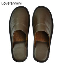 Genuine Sheepskin Leather slippers couple indoor non slip men women home fashion casual single shoes PVCsoft soles spring summer