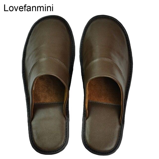 Hakiki koyun derisi deri terlik çift kapalı kaymaz erkekler kadınlar ev moda rahat tek ayakkabı PVCsoft tabanı İlkbahar yaz