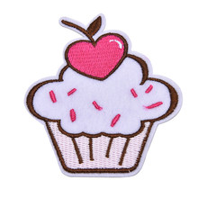 New Pink Ice Cream Embroidered Patch Iron On Motif Sew On Iron On Applique DIY Accessory 1Pcs(China)