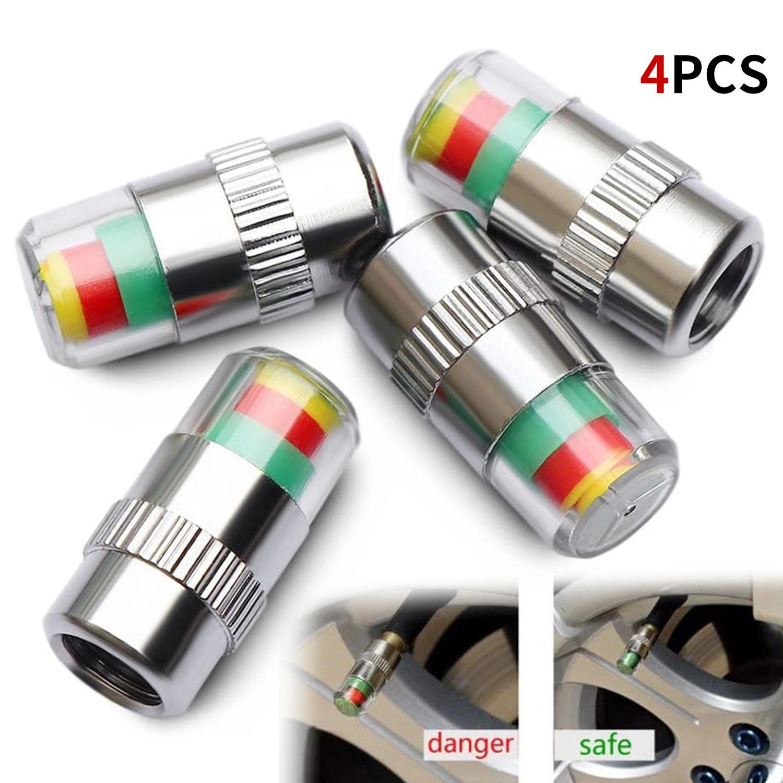 4pcs 2.4 Bar Car Tire Pressure Guage Cap Sensor Indicator Alert Monitoring Tool Tyre Cap Indicator Alert Air Pressure Gauge