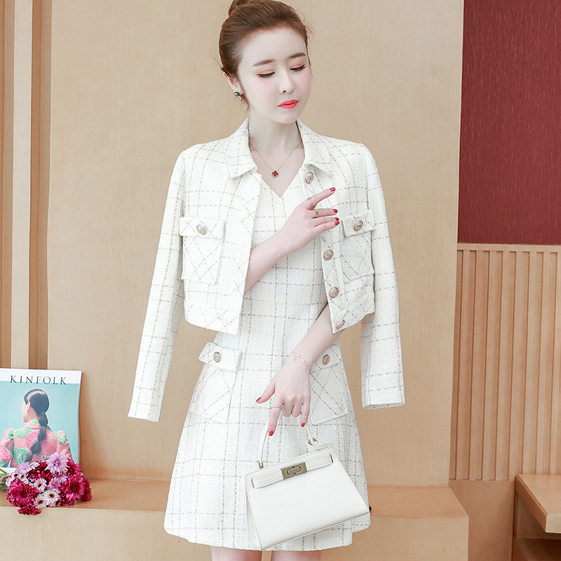 Ladies Dress Suits Formal Office Ladies Work Wear Tweed Cotton Short Blazer Jacket Sleeveless A line Dress Two Piece Set Clothes