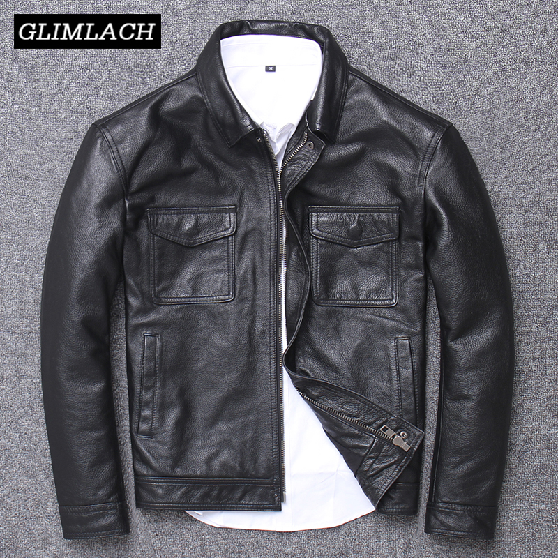 Men Vintage Genuine Cow Leather Jacket Casual Motorcycle Bomber Flight Jacket Cowskin Real Leather Aviator Coat High Quality