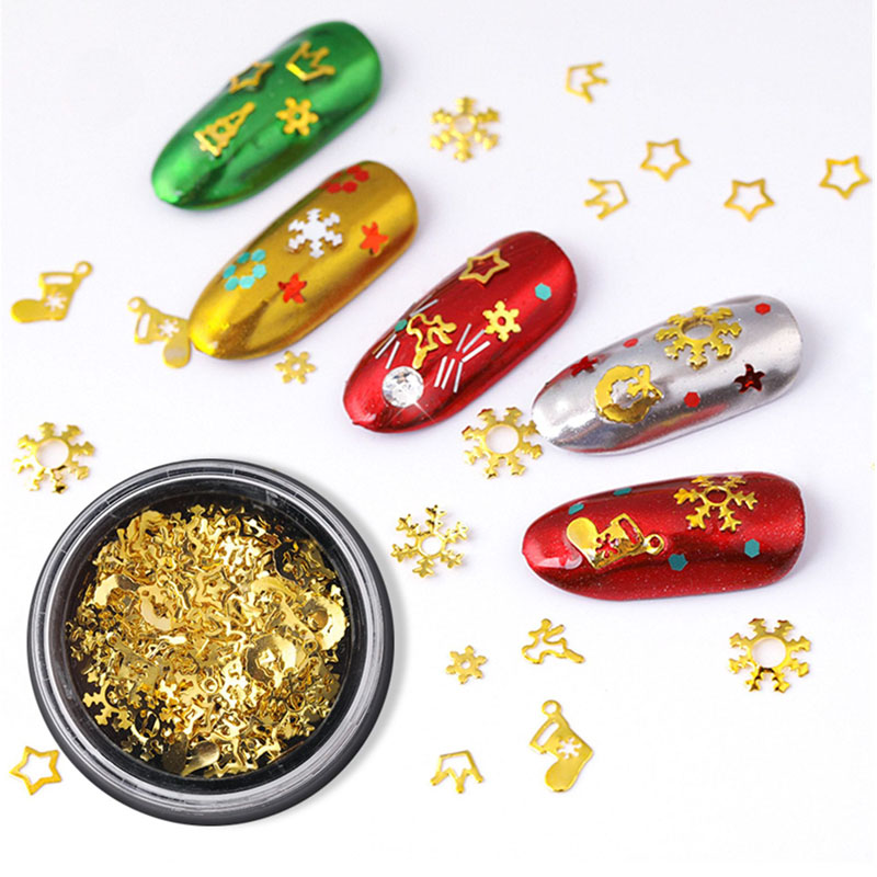 1 Box  DIY 3D Manicure Decorations Snowflakes Gold Metal Slices Nail Art Sequins Christmas Polish Thin Sticker Designs