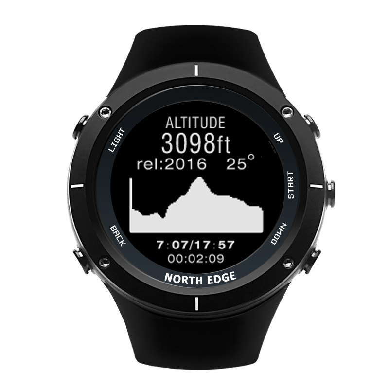Image 2 - NORTH EDGE Men Sports Watch Altimeter Barometer Thermometer Compass Heart Rate Monitor Pedometer Digital Running Climbing Watch-in Smart Watches from Consumer Electronics