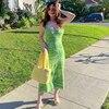 Paisley Print Knit Dress Women Green Y2K Summer Sexy Bodycon  Sleeveless Spaghetti Strap Beach Party Midi Dresses 2021 2