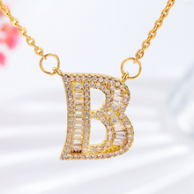 Men Women Hip Hop Rhinestone Alphabet Necklace Personalized Initial A-Z Letters Crystal Pendant Gold Chain Jewelry Shellhard