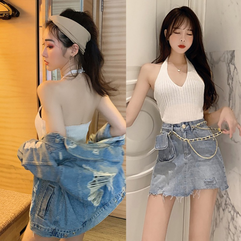 Women Small Sling Retro Halter Stretch Slim V-Neck Sexy Lace Up Solid Color Tanks & Camis Vest One Size New Arrival 3