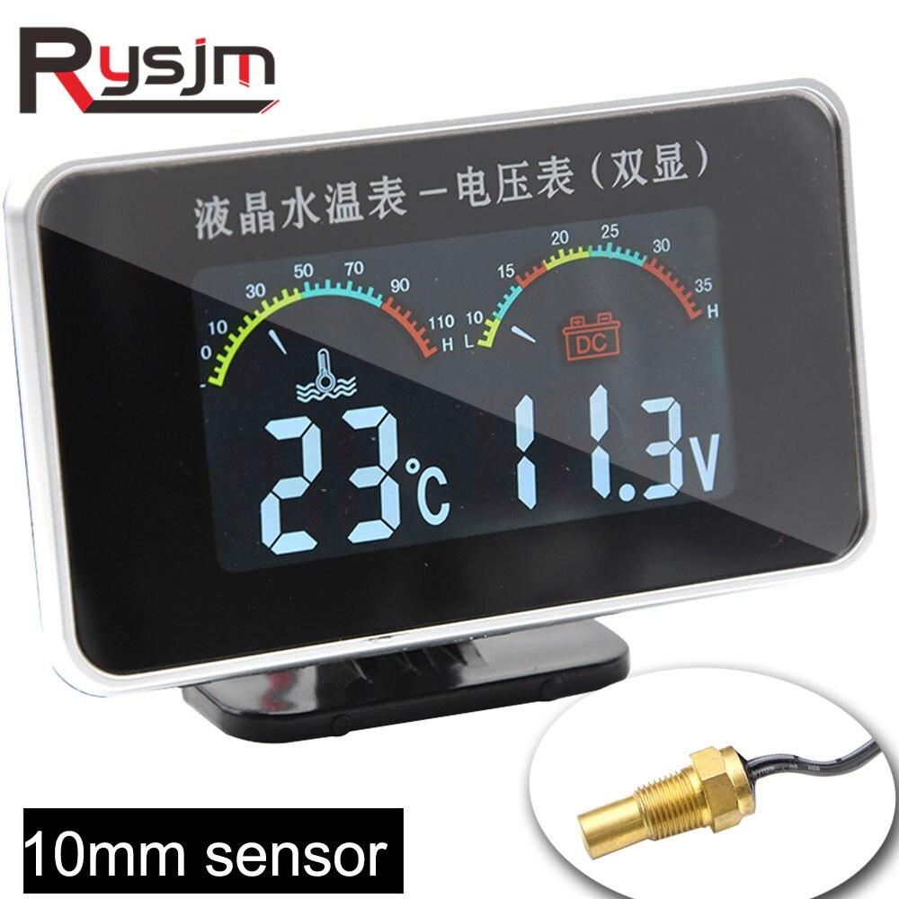 9 36 в автомобильный ЖК экран цифровой вольтметр температуры воды 2 в 1 датчик 10 мм Датчик автомобильный тестер измеритель температуры для мотоцикла Датчики температуры воды      АлиЭкспресс