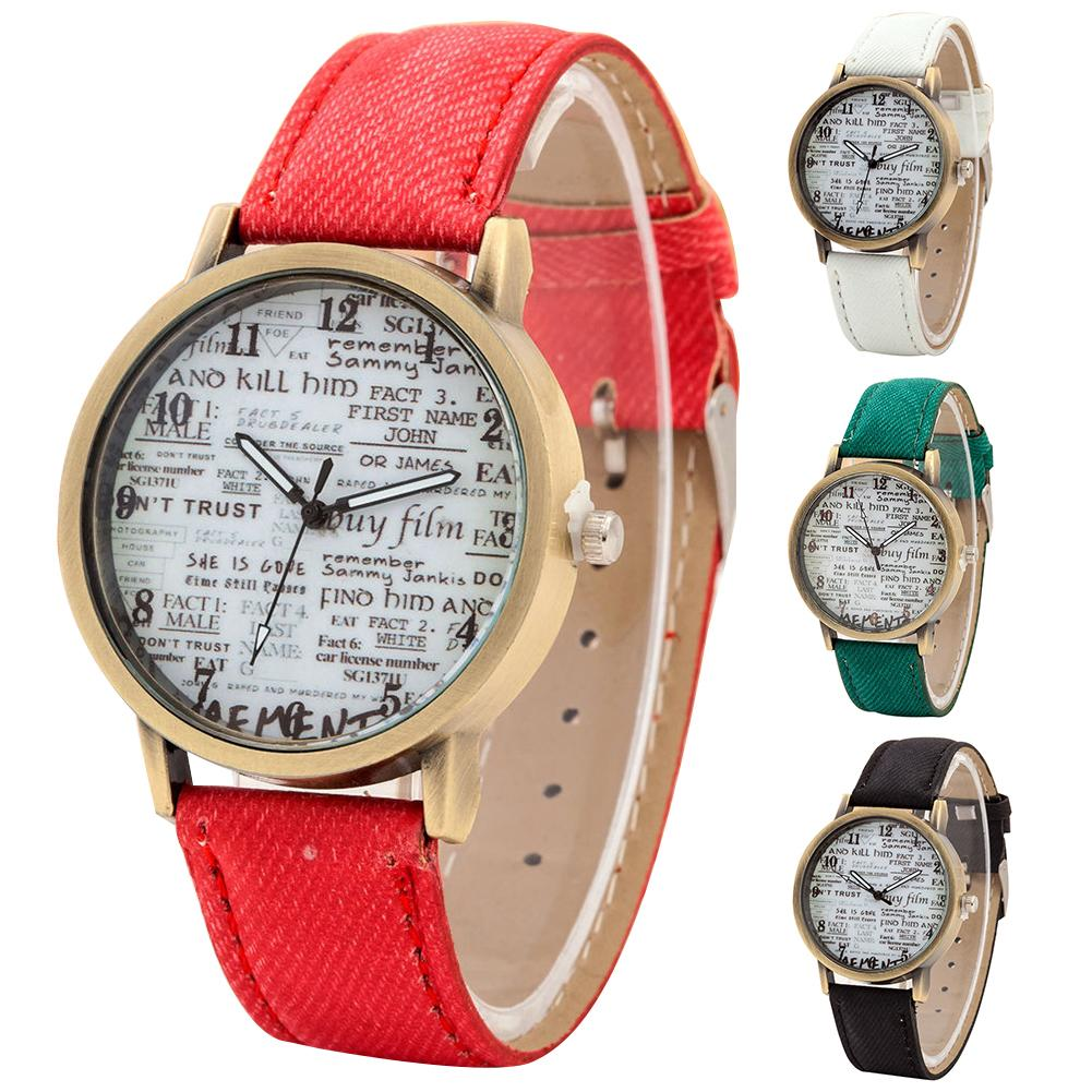 Retro Unisex Newspaper Pattern Round Dial Canvas Strap Analog Quartz Wrist Watch Easy To Match With Daily Apparel Couples Watch