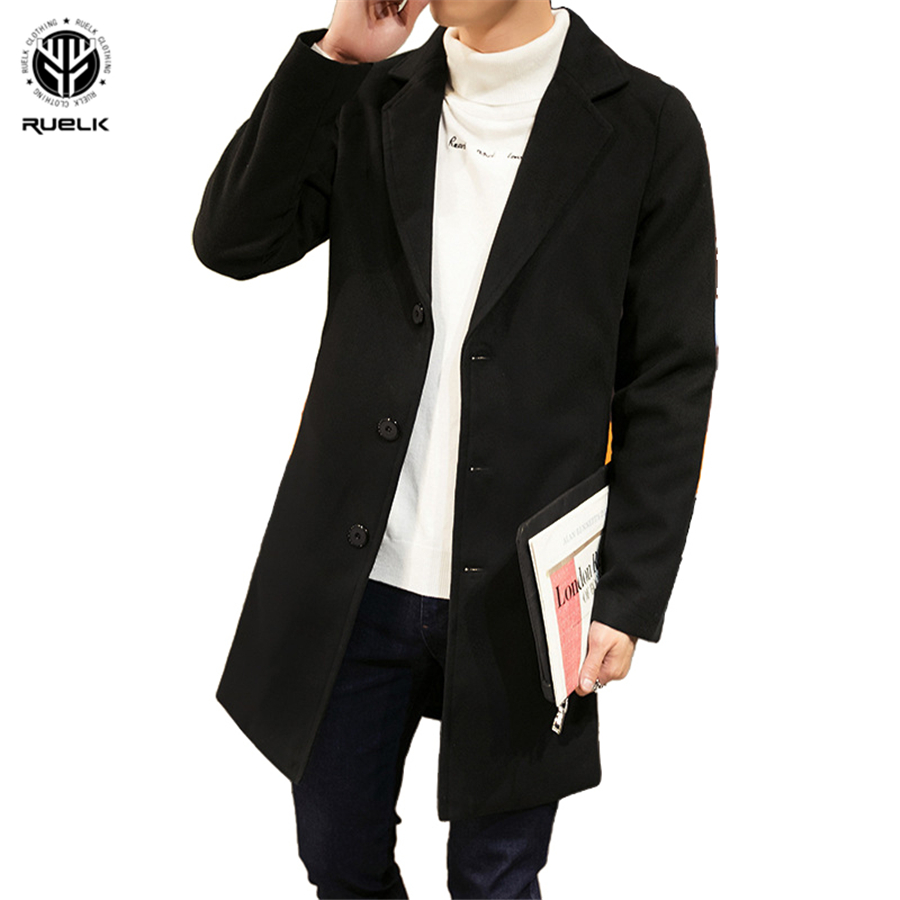 RUELK 2020 Autumn And Winter New Thick Mid-Length Korean Version Of The Men's Slim Trench Coat Single-Breasted Wool Men Clothing
