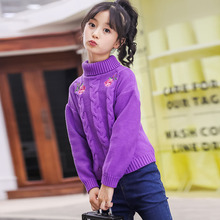 New 2019 Childrens Sweater Spring Autumn Girls Cardigan Kids Turtle Neck Sweaters Fashionable Style Outerwear Pullovers