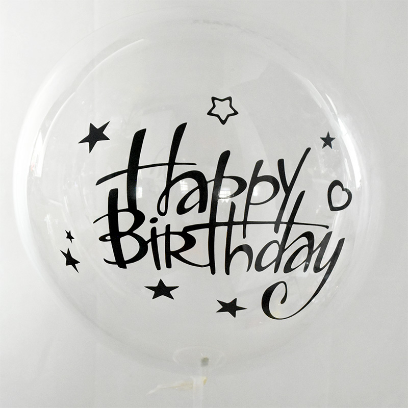 1pc 20inch Transparent Balloon With Sticker Happy Birthday Balloons Helium Balloon Wedding Birthday Party Decoration Supplies Ballons Accessories Aliexpress