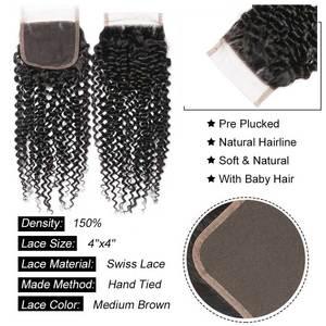 Image 5 - שיער מאסטר ברזילאי מתולתל גל סגירת רמי שיער טבעי סגירת 4x4 טבע צבע קרלי סגירת משלוח חינם
