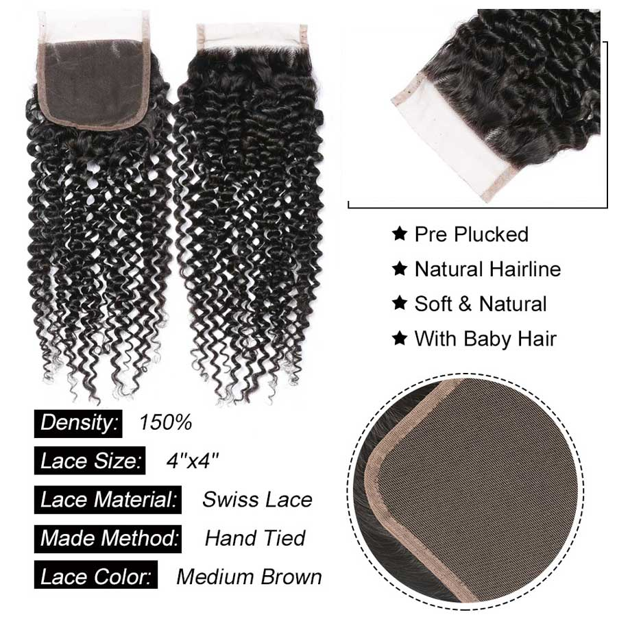 Image 5 - Hair Master Brazilian Curly Wave Closure Remy Human Hair Closure 4x4 Nature Color Lace Closure Curly Closure Free Shipping-in Closures from Hair Extensions & Wigs