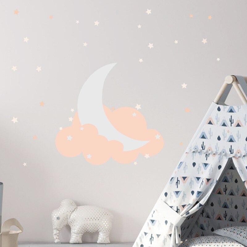 Pegatina creativa de Luna en las nubes para pared, decoración del hogar, sala de estar, habitación de niños, combinación de papel tapiz, pegatinas
