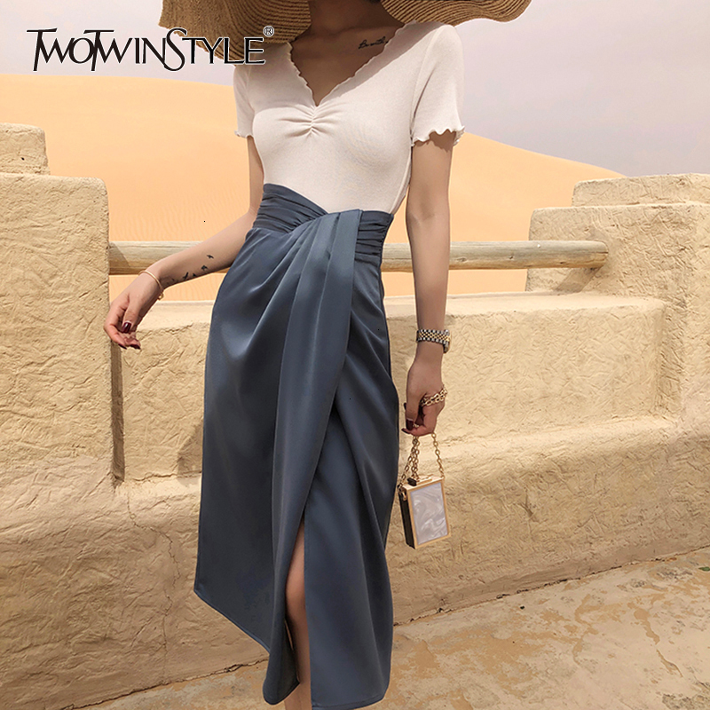 TWOTWINSTYLE Vintage Asymmetrical Side Split Skirts For Female High Waist Irregular Ruched Skirt Women Fashion 2020 Clothes Tide