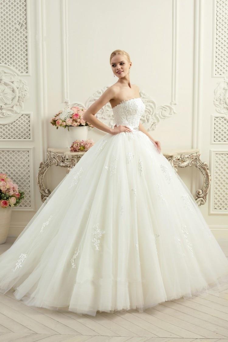 Vestidos De Noiva 2018 Gorgeous Ball Lace Strapless Corset Back Bridal Evening Gown Abiti Da Sposa Mother Of The Bride Dresses