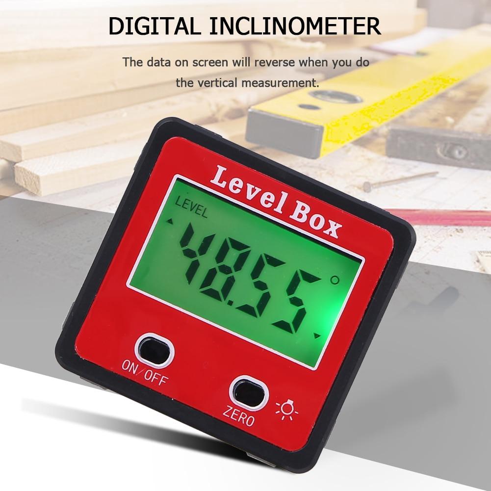 JUNEJOUR דיוק דיגיטלי רשת מסוע עמיד למים Inclinometer רמת מכשיר עם תיבת עם בסיס מגנטי דיוק
