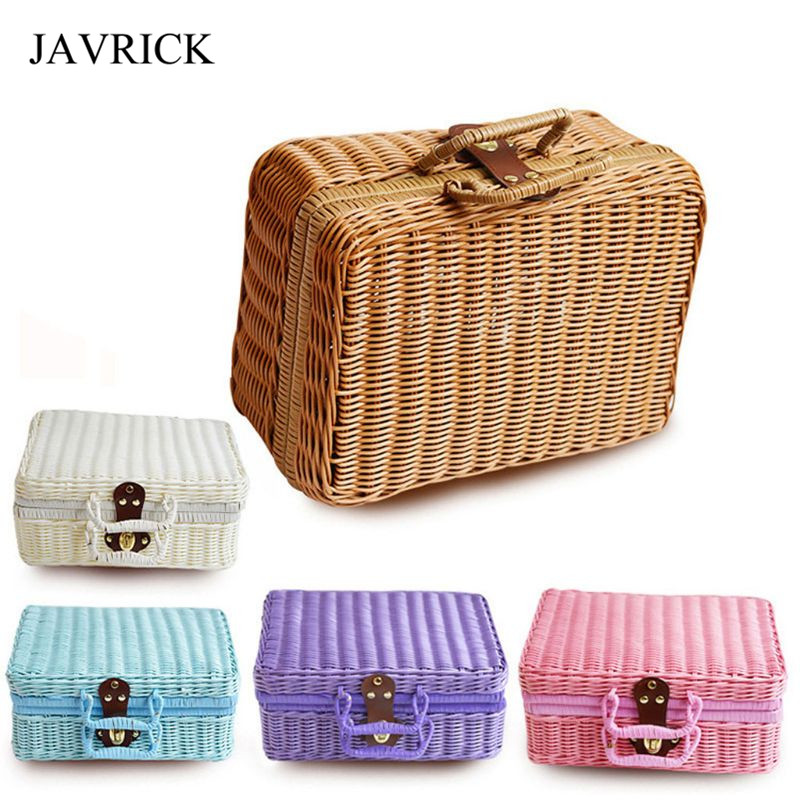 Rattan Storage Basket Makeup Organizer Multipurpose Container With Lid