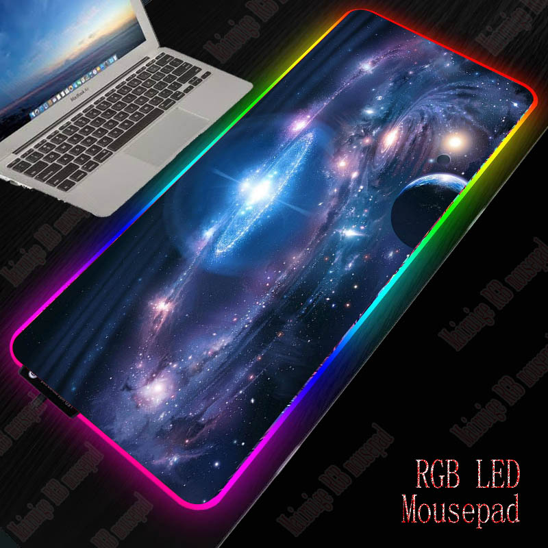 XGZ Space Planet Gaming Computer Mousepad RGB Large Mouse Pad Gamer Mouse Carpet Big Led Mause Pad PC Desk Play Mat With Backlit