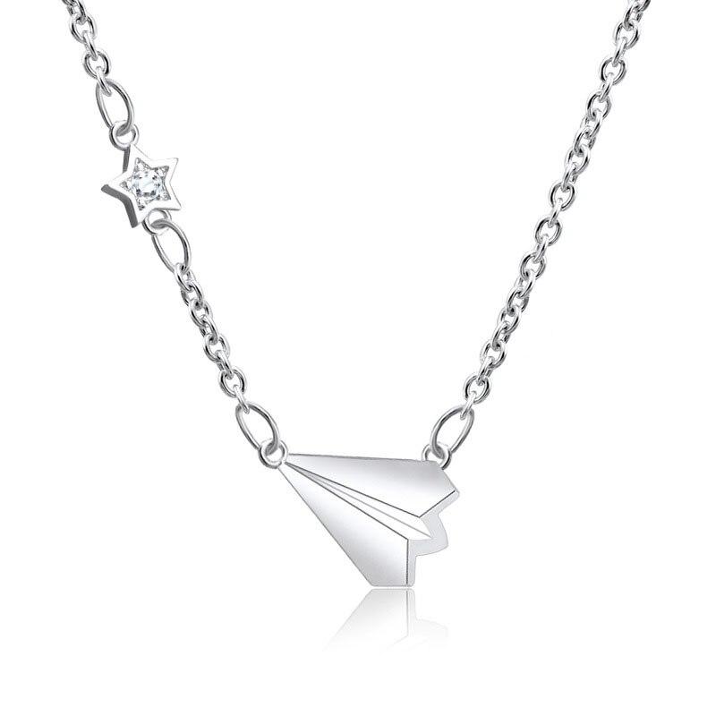 Бумажный самолет, милое шикарное минималистское ожерелье, модная популярная классическая женская пятиконечная цепочка для ключицы