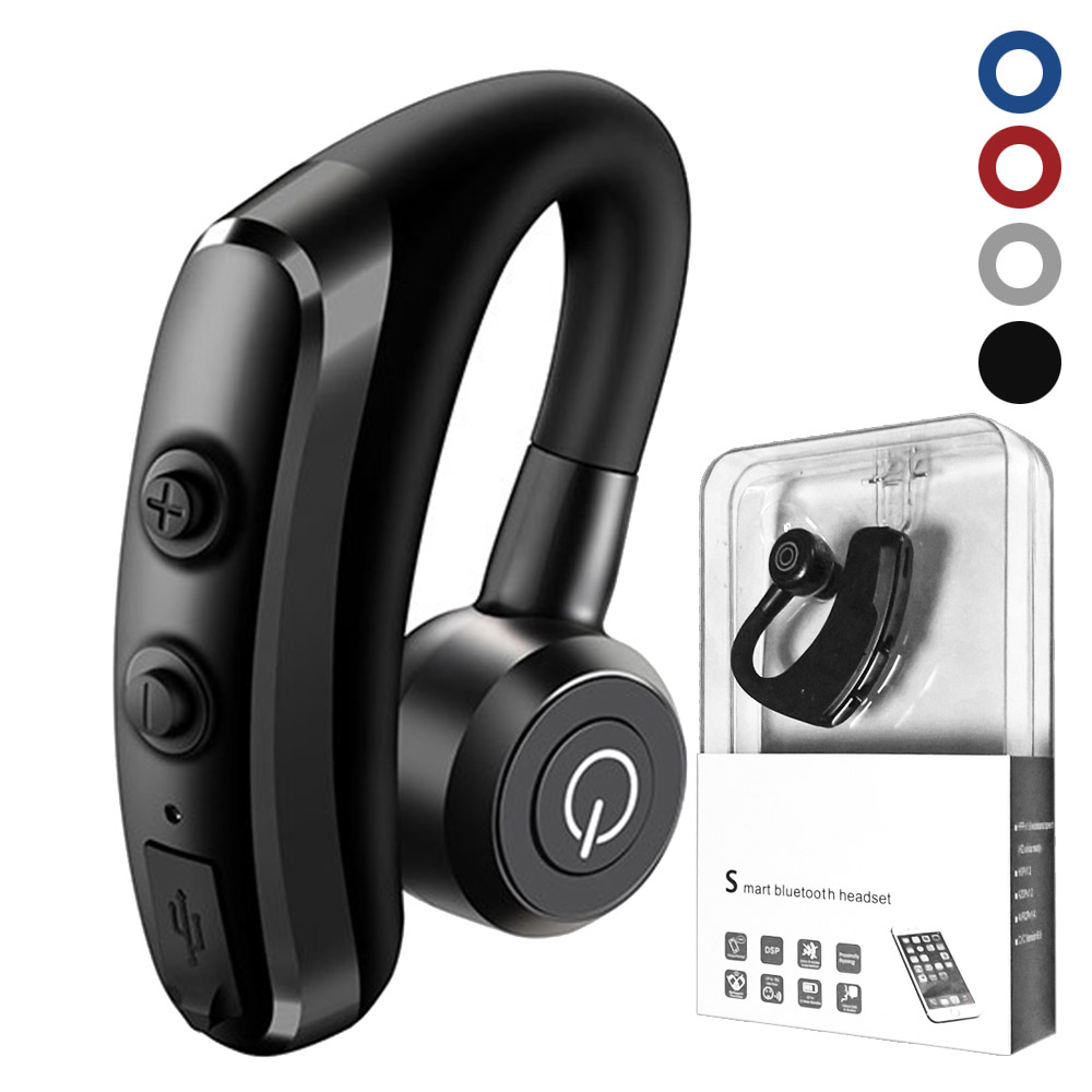 Business Stereo wireless earbuds K5 Handsfree Bluetooth ear hook Earphones With Mic package for iphone samsung smartphone MP4 i7