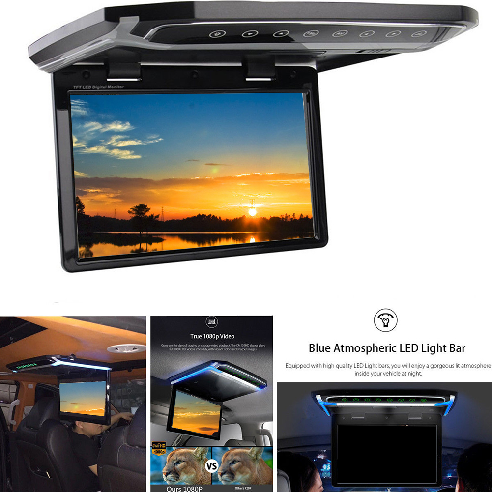 Digital Car Dispaly Screen Atmosphere Vehicle Monitor Flip Down Auto Foldable Ceiling Accessories Video Player Roof Mount
