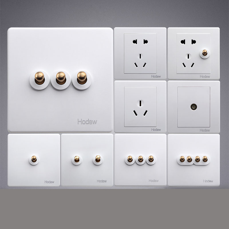 High Quality 86 Retro White Wall Lamp Brass Toggle Switch Outlet Single Dual Control 2 Way Light Switch Socket Panel Set