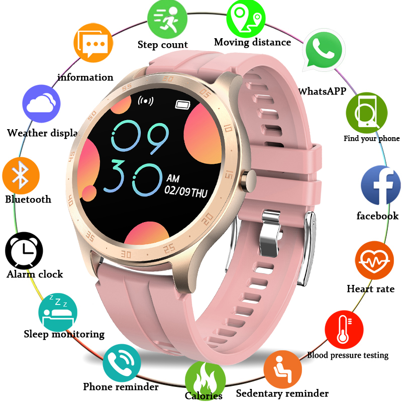 LIGE LED full touch screen Smart Watch Women IP67 Waterproof Fitness Tracker Heart rate Blood Pressure Monitor Sport smartwatch