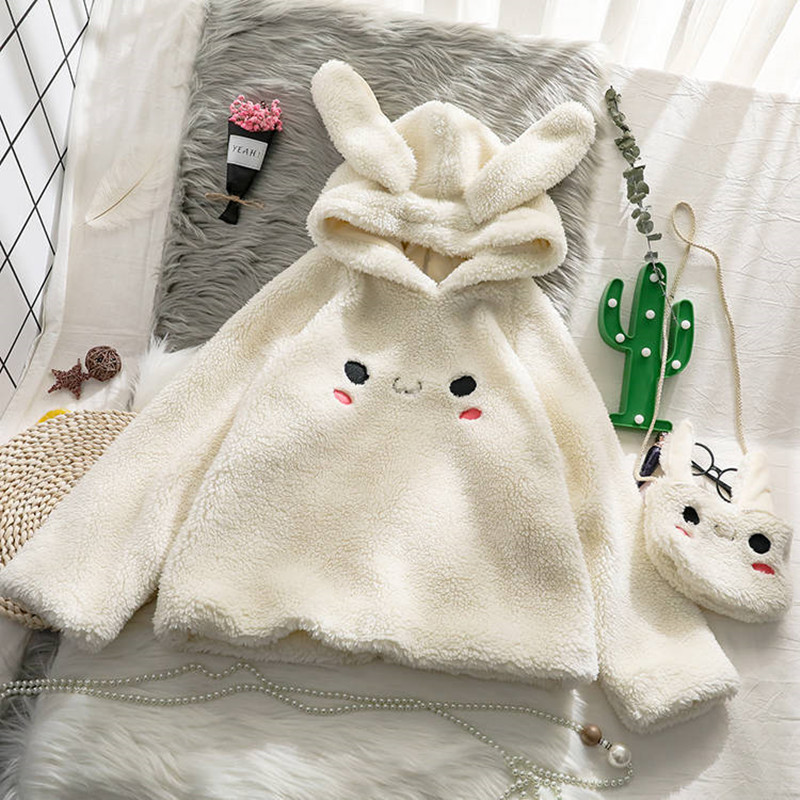 Bunny Hoody Women Cute Rabbit Ear Student Hoodie Long Sleeve Big Size Sweet Warm Coat  Winter/Spring Fashion Streetwear Clothes
