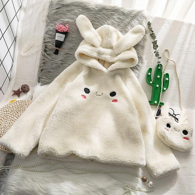 Bunny Hoody Women Cute Rabbit Ear Student Hoodie Long Sleeve Big Size Sweet Warm Coat  Winter/Spring Fashion Streetwear Clothes
