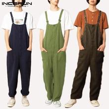 Men Jumpsuit Overalls-Pants INCERUN Vintage Joggers Streetwear-Pockets Cotton Chic Rompers