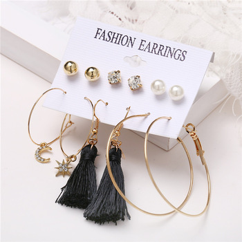 IF ME Fashion Vintage Gold Pearl Round Circle Drop Earrings Set For Women Girl Large Acrylic Tortoise shell Dangle Ear Jewelry 3