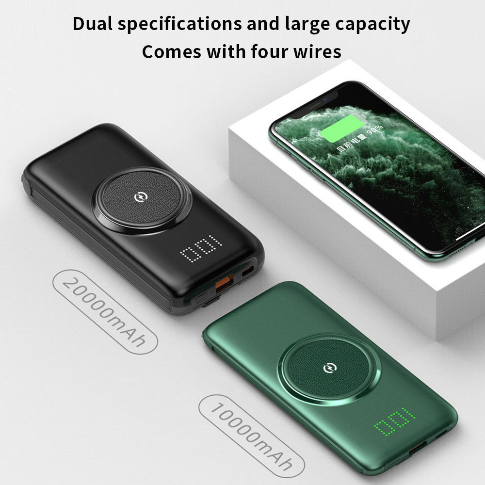 PINZHENG 20000mAh Qi Wireless Charger Power Bank Built-in 4 Cables Powerbank Portable External Battery Charger For Xiaomi iPhone
