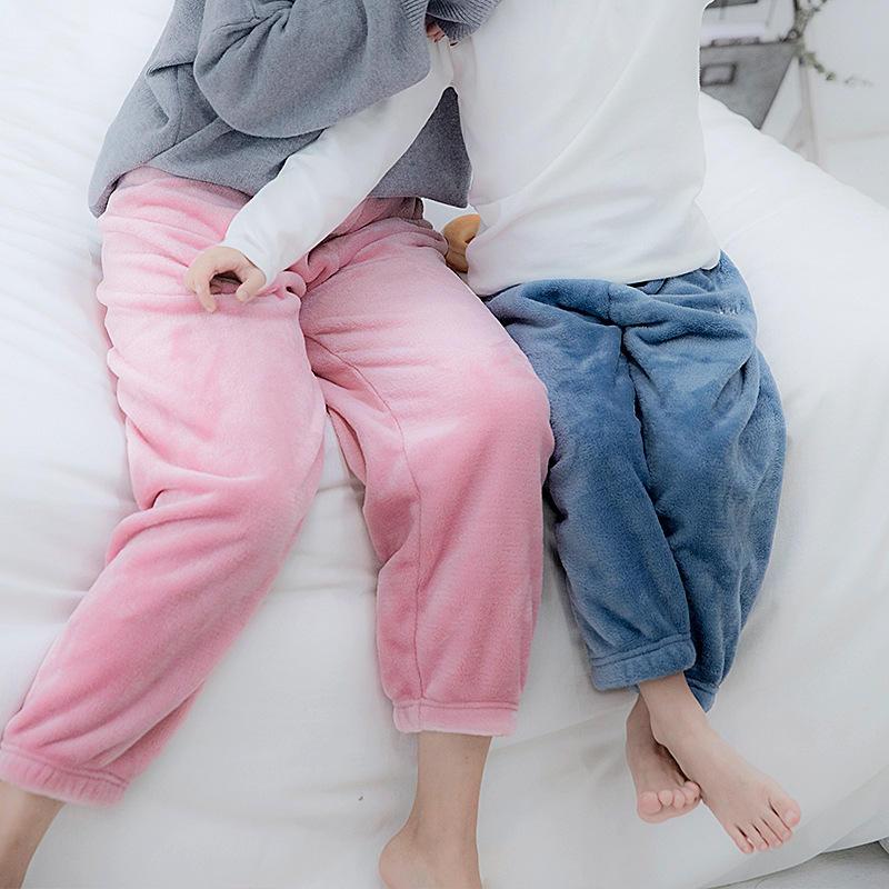 Parent-child Warm Pants Plus Cashmere Girls' Leggings New Spring and Autumn Outer wear Thick Pajamas Boys Warm Pants 1