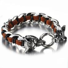 Granny Chic Cool Stainless Steel Wolf Head Mens Bracelets Bangles Quality Brown Genuine Leather Bracelet Men Pulseras Jewelry