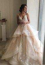 สวยแชมเปญดอกไม้ชุดแต่งงานลูกไม้ 2020 เซ็กซี่ Backless Ruffles PUFFY ชุดเจ้าสาวงานแต่งงานชายหาด Gowns Vestido De Noiva