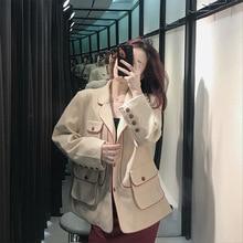 лучшая цена Autumn 2019 Coat New Women Minimalist Loose Retro Long Sleeve Leisure Suit Pink Cardigan Coat Women Notched clothes women suit